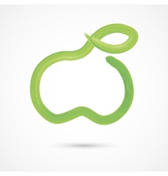 Green watercolor apple vector