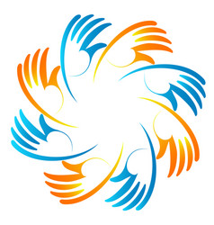Group of hopeful hands icon vector