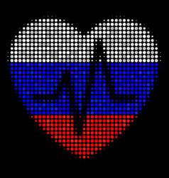 Halftone russian cardiology icon vector