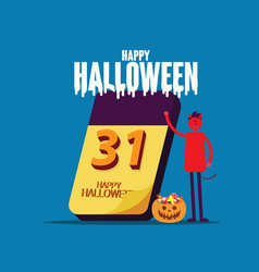 halloween calendar happy halloween celebration vector image