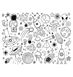hand drawn space doodle space planets astrology vector image