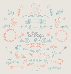 Hand Drawn Vintage Elements Set vector