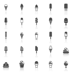 Ice cream icons with reflect on white background vector image