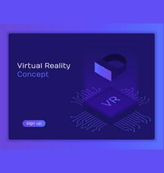 isometric flat vr helmet virtual reality vector image