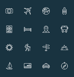 journey icons line style set with valise airplane vector image