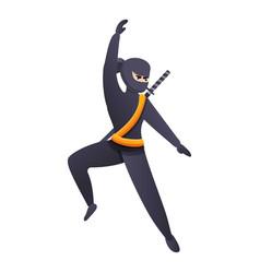 Jumping ninja icon cartoon style vector