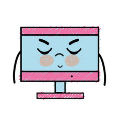 Kawaii cute angry computer technology vector