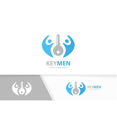 Key and people logo combination lock and vector