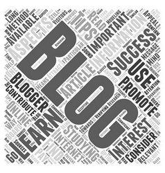 Learning About Blogging Word Cloud Concept vector image