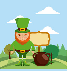 Leprechaun with cauldron board and landscape vector