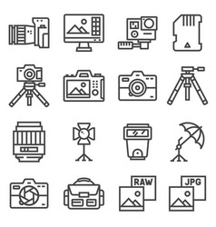 line photography equipment post vector image