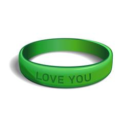 Love you green plastic wristband vector