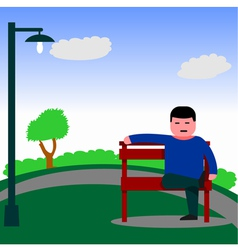 Man sitting on the bench vector image
