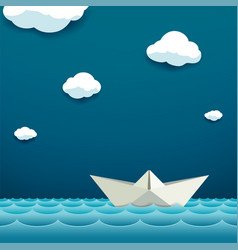 Paper boat floats on water surface vector