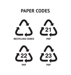 Paper recycling codes cardboard paper vector