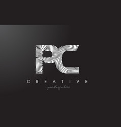 Pc p c letter logo with zebra lines texture vector