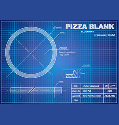 Perfect pizza blank blueprint scheme vector