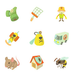 Pest icons set cartoon style vector
