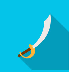 pirate sabre icon in flat style isolated on white vector image