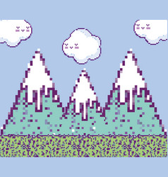 pixelated videogame scenery vector image