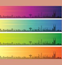 riyadh multiple color gradient skyline banner vector image
