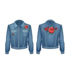 Rock style denim jacket set vector