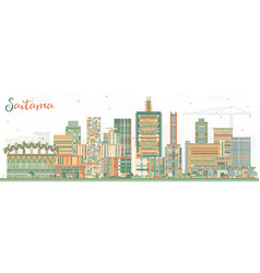 Saitama japan city skyline with color buildings vector