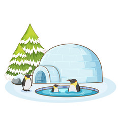 scene with penguins in snow vector image