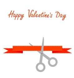 Scissors cut decorative red ribbon Valentines day vector