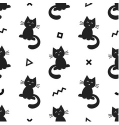 seamless abstract pattern with black cat and vector image