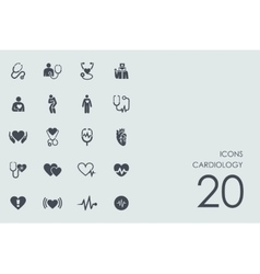 Set cardiology icons vector