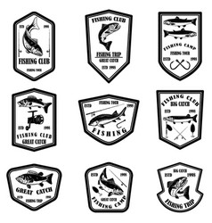 set fishing club emblems design element vector image
