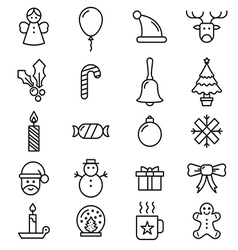 set flat outlined christmas icons variable line vector image