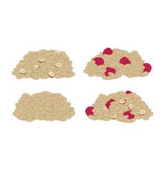 Set granola muesli raspberries nuts proper vector