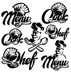 set monochrome templates for menu vector image