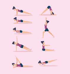 Set of girls doing yoga design vector