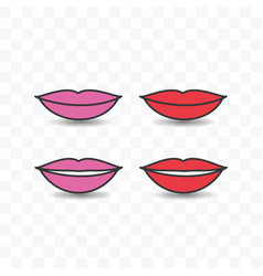 set of lip icon simple flat style vector image