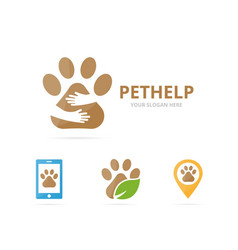 Set of paw logo combination pet and embrace vector