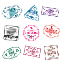 set of visa stamps for passports international vector image