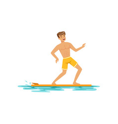 Smiling man surfing on the ocean water extreme vector