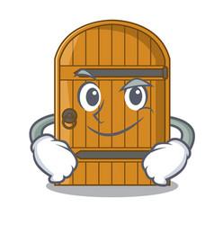 Smirking wooden door isolated on character cartoon vector