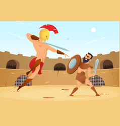 Spartan warriors fighting in gladiators arena vector