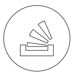 stacking in the tray black icon outline in circle vector image