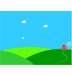 summer farm green field landscape background vector image
