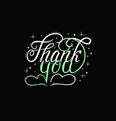 thank you lettering in white and green vector image