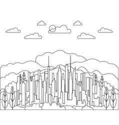 thin line city landscape flat panorama design vector image