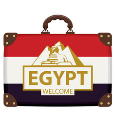 travel suitcase with egyptian flag and sphinx vector image