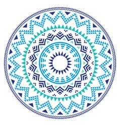 Tribal folk Aztec geometric pattern in circle vector image