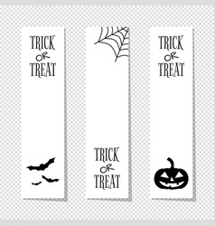 Trick or treat white halloween vertical banners vector