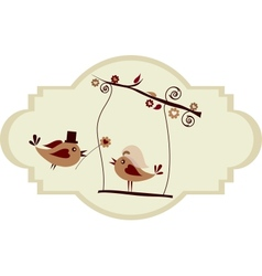 Wedding card groom bird giving a flower vector image